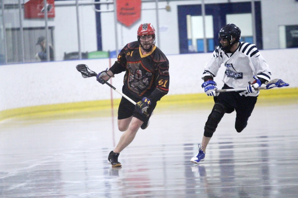 The Rockyview Knights lost 8-4 July 8 to the Calgary Mountaineers. The team is now tied for third in the RMLL Senior B division, with two games left to play.  Photo by Scott Strasser/Rocky View Publishing