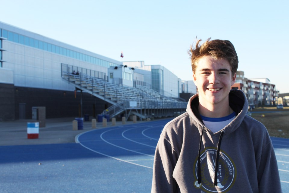 Airdrie Aces middle-distance runner Aiden Good is currently ranked second in Canada for his age group in the 800-metre. The 16-year-old raced to a 1:57.84 finish May 3 at a high-level track meet in Portland, Ore.  File Photo/Rocky View Publishing