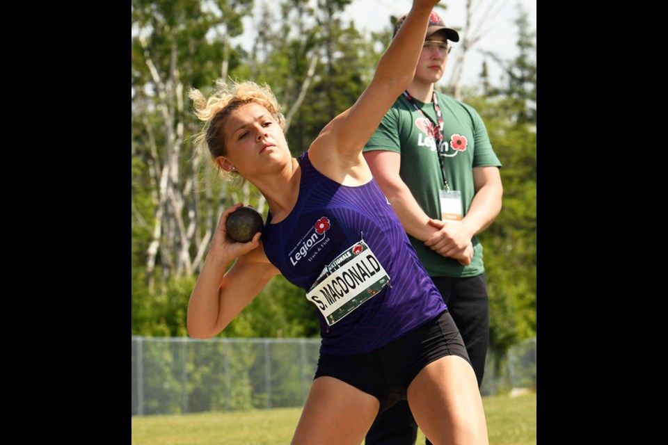 Sixteen-year-old Sienna MacDonald competed in the U18 women's heptathlon at Legions and came out with a silver medal. Photo submitted/For Rocky View Publishing