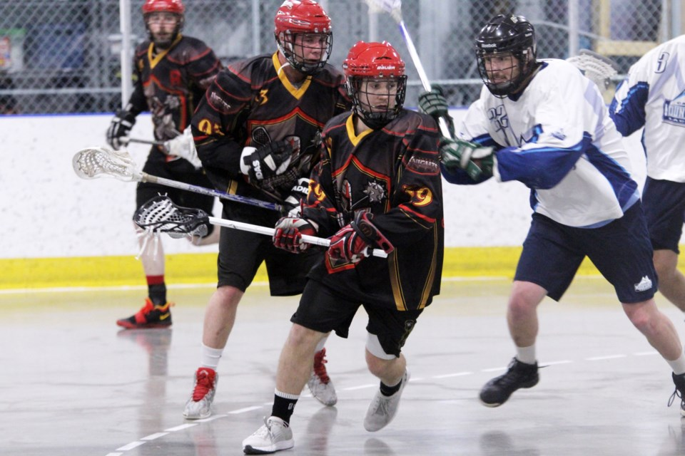 The Rockyview Knights senior B men's lacrosse team opened the 2019 season with an 8-6 victory over the Calgary Mountaineers, at the Plainsmen Arena.  Photo by Scott Strasser/Rocky View Publishing