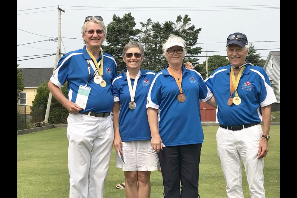 Douglas Campbell, Debra Hawker, Nancy and Karl Gibbie of Rocky View County will be in action this July at the 55-plus Alberta Summer Games.  File Photo/Rocky View Publishing