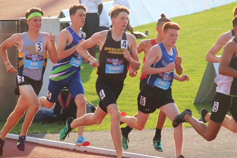 Middle-distance runner Aiden Good (far left) raced for the Airdrie Aces in the 800-m at the 2019 National Track and Field Championships in Montreal, July 25 to 28.  Photo Submitted/For Rocky View Publishing