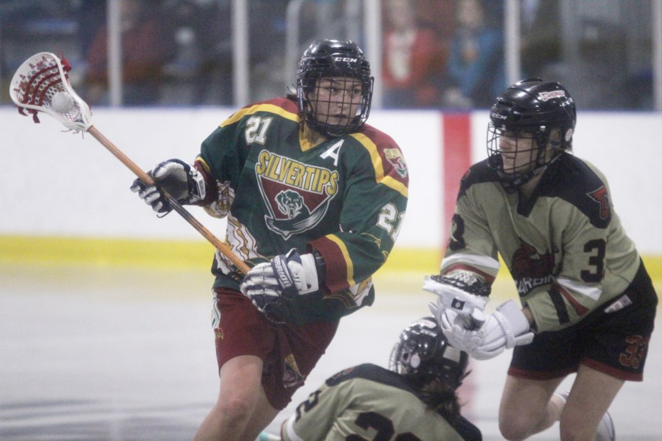 Rockyview player Callie Hanger goes for a goal against the Calgary Cardinals, June 21. The Silvertips Junior Ladies team lost its final game of the season 17-6.  Photo by Scott Strasser/Rocky View Publishing