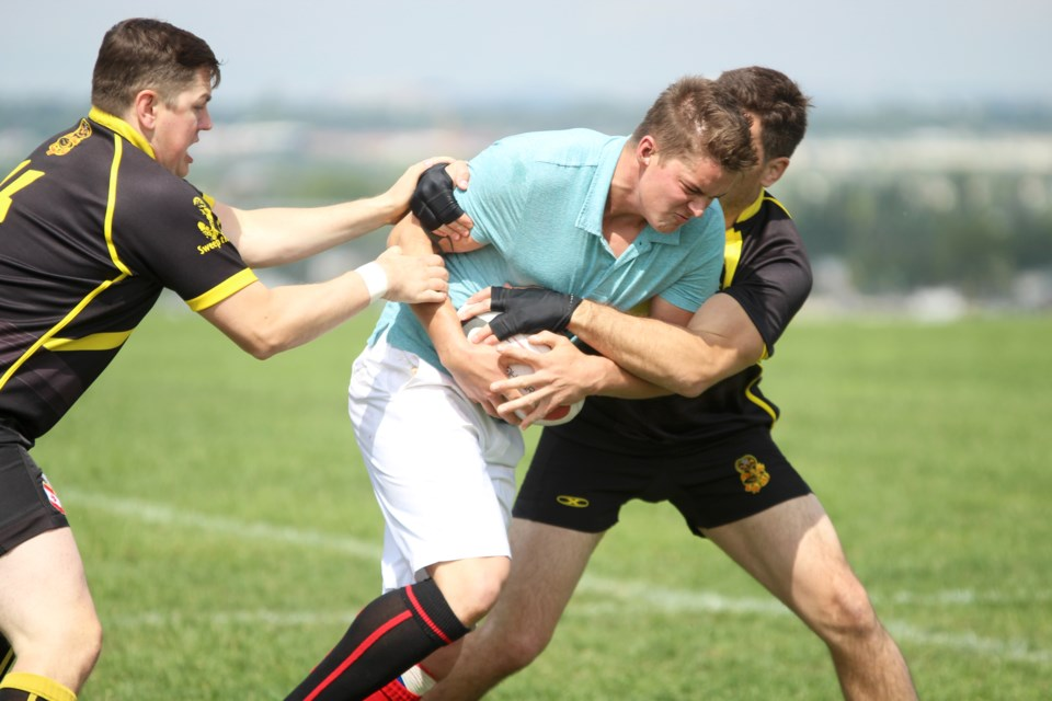 The Airdrie Highlanders fielded  men's, women's and junior women's squads in the 2019 Stampede Sevens rugby tournament in Calgary July 5 and 6.  Photo by Scott Strasser/Rocky View Publishing