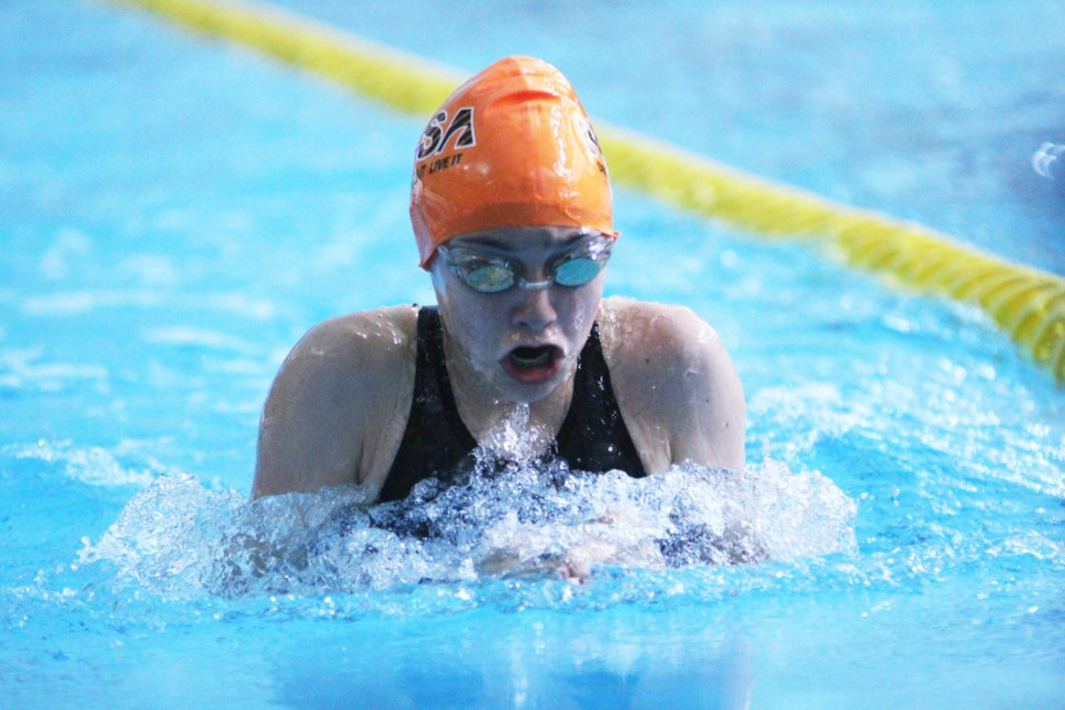 Thirteen-year-old Montana Dobry competed in the 100-m breast stroke event at junior nationals. Her time of 1:20.37 moved her up eight spots in her age category rankings.