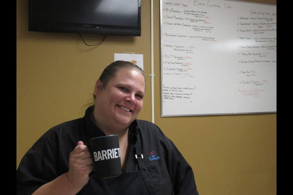 Heather Pilipenko is the smile most need when ordering a coffee at the Barrie Courthouse Cafe. Shawn Gibson for BarrieToday