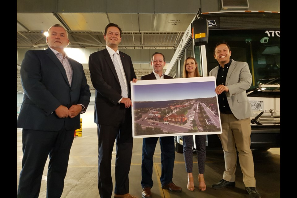 Left to right: Ward 5 councillor Robert Thomson, mayor Jeff Lehman, BSOM MPP Doug Downey, Barrie-Innisfil MPP Andrea Khanjin and Ward 9 councillor Sergio Morales were all on-hand for the huge transit investment from the province, Thursday August 22, 2019. Shawn Gibson/BarrieToday