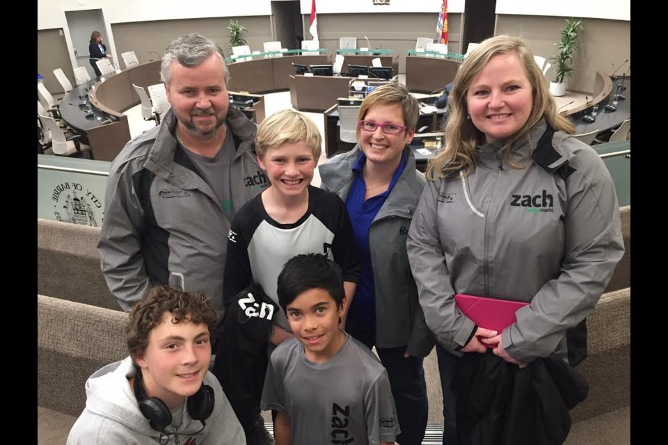 Zach Hofer came to city hall with his Mom Shelley (right) and other family members and supporters. Sue Sgambati/BarrieToday