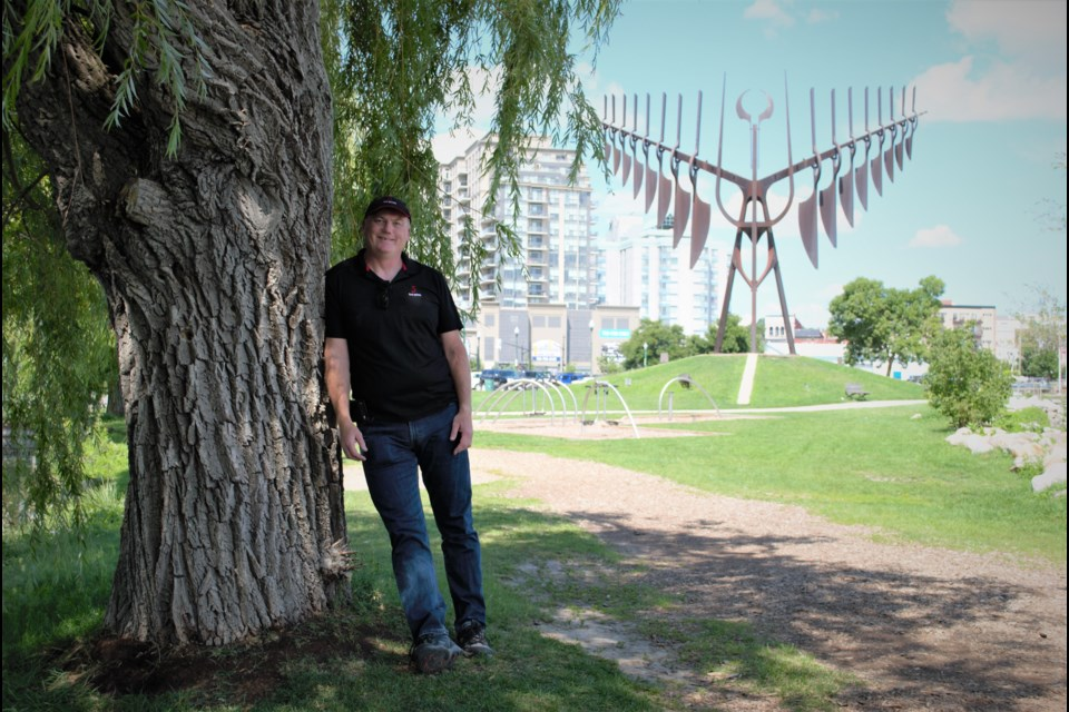 John Ironside stands in front of the Spirit Catcher sculpture on Barrie's waterfront, Monday afternoon. Jessica Owen/BarrieToday