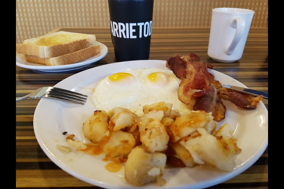 Breakfast, coffee and BarrieToday at Gibby G's. Shawn Gibson/BarrieToday