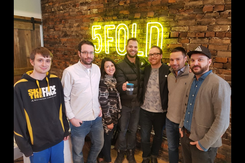 From left, Bryce Wilkinson, Aaron McMurter, Emma De Buono, Marc Holmes, Adam Johns, Darren Burley and Brandyn Aikins make up 5Fold Agency. Shawn Gibson/BarrieToday