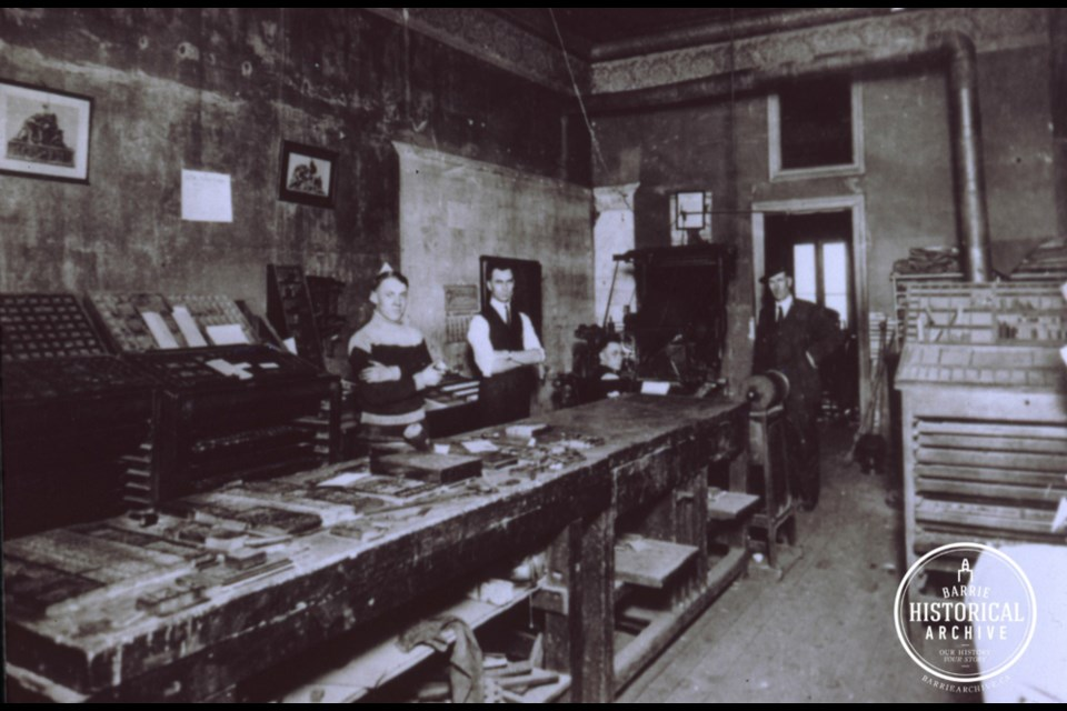 Interior of a printing office on Dunlop Street around 1890.