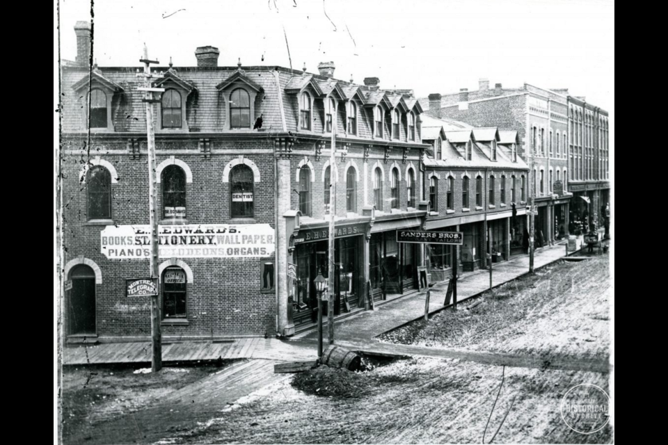 Dr. Bosanko's sign is visible in the upper window of the east end of the Glebe Block, circa 1888. Photo courtesy of the Barrie Historical Archive.