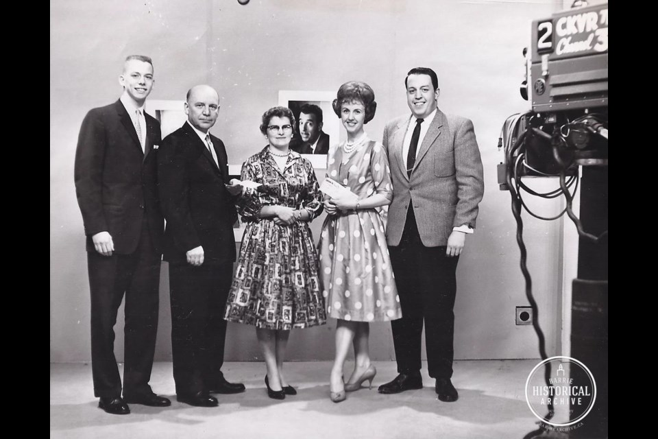 Milt Conway, far right, with Wendy Hicks next to him, circa 1965. Photo courtesy of Barrie Historical Archive and CTV Barrie.