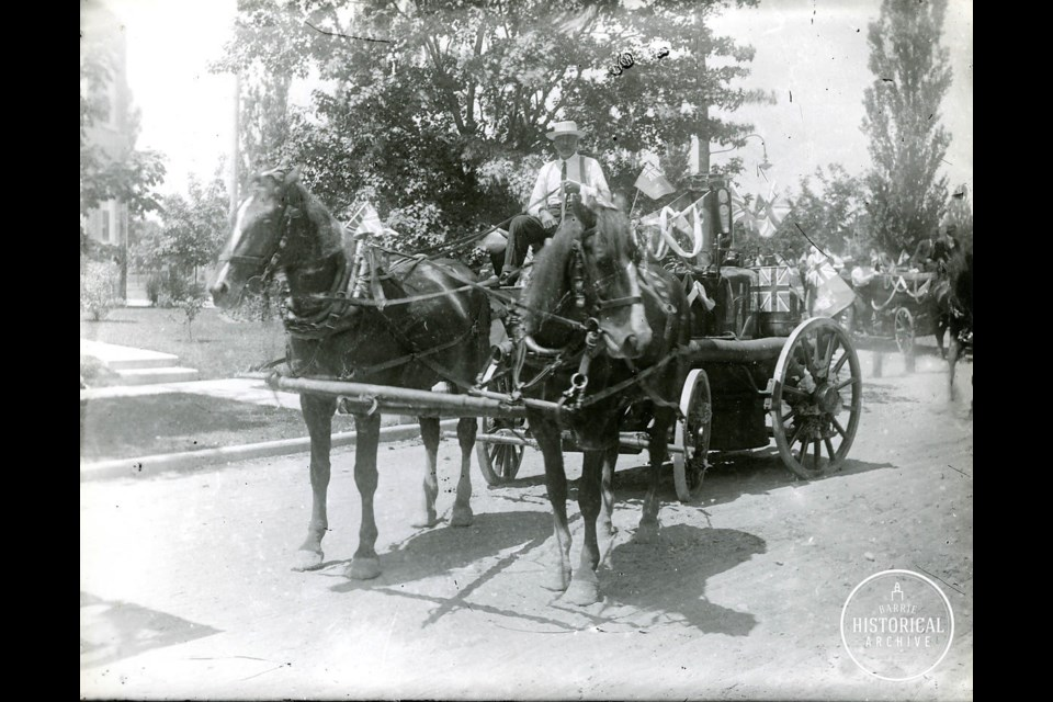 Steam pumper truck in parade for Barrie's 60th Anniversary 1913. Photo courtesy of the Barrie Historical Archive.