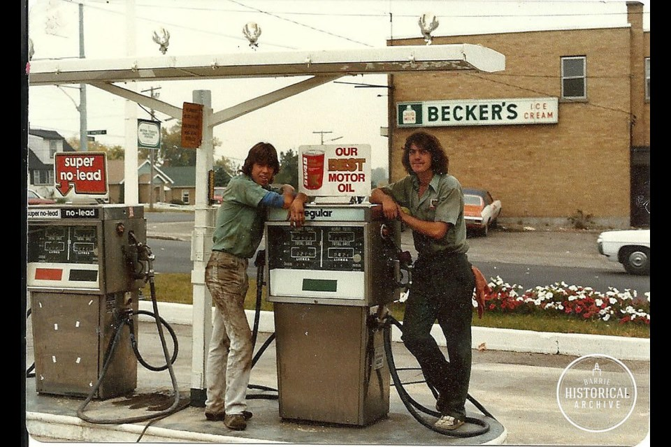 BP gas station northeast corner of St. Vincent and Penetang Sts. Circa 1980. Photo courtesy of the Barrie Historical Archive.