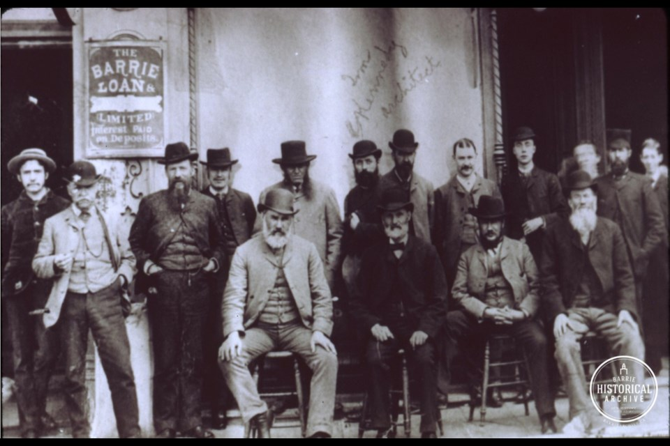 A gathering of Dunlop Street merchants, circa 1880, including a young Walter Scott second from the right. Photo courtesy of the Barrie Historical Archive