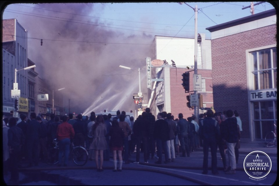 Firefighters trying to stop the flames at Five Points on April 23, 1970. Photo courtesy of the Barrie Historical Archive