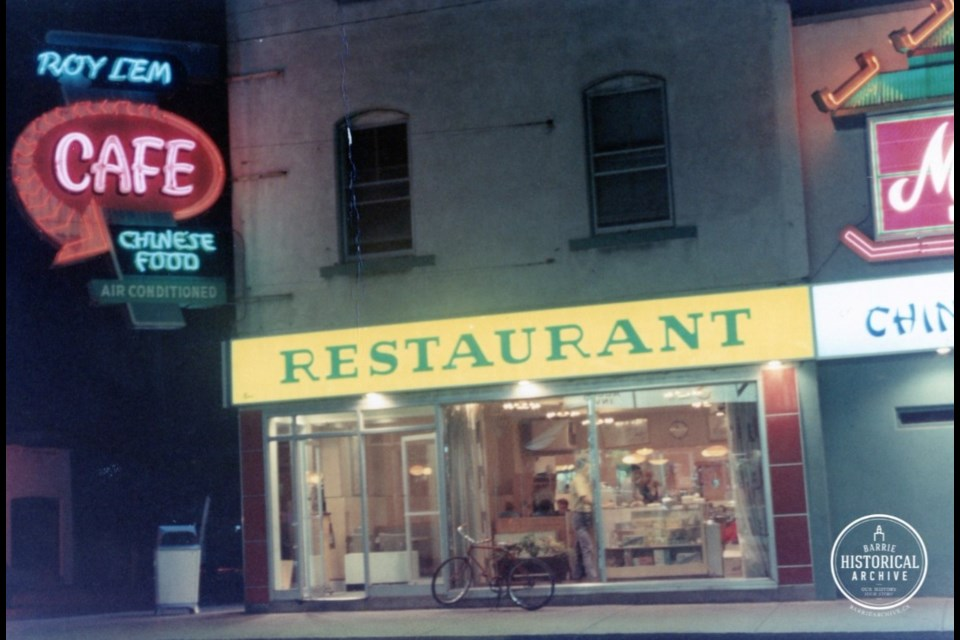 Roy Lem Restaurant about 1969. Photo courtesy of the Barrie Historical Archives