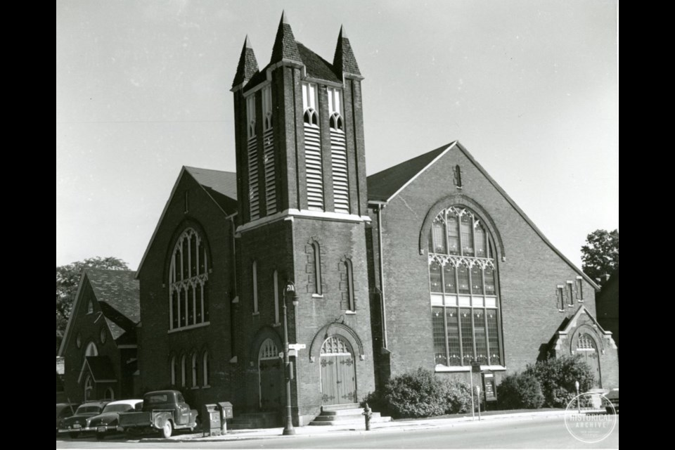 Elizabeth St. Methodist (later United) Church that stood on the northeast corner of Toronto and Elizabeth (later Dunlop W.) St. until it relocated to Toronto and Ross Sts. and became Central United Church. Circa 1950. Barrie Historical Archive
