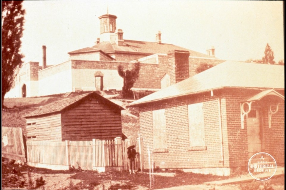 The jail and the registry house circa 1872. Photo courtesy Barrie Historical Archive
