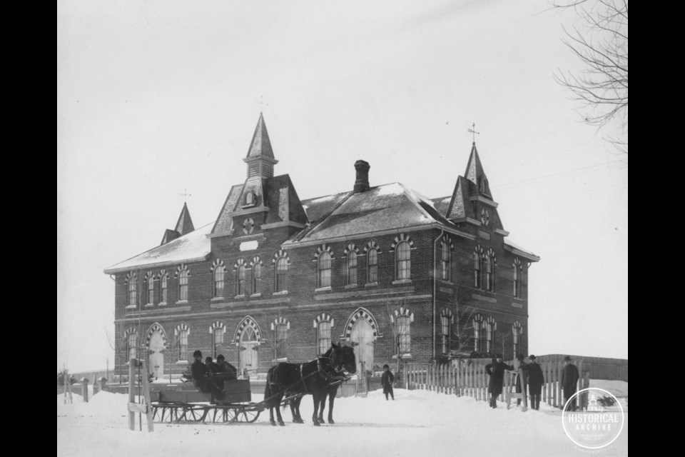 Perhaps the earliest photograph of West Ward School not long after its 1877 completion. Photo courtesy of the Barrie Historical Archive