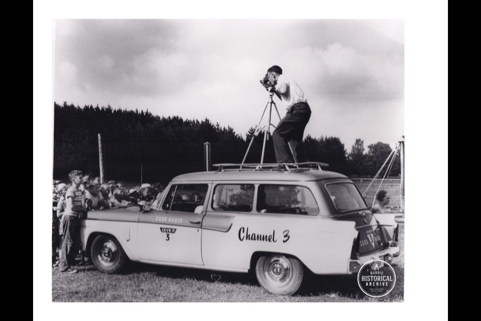 CKBB/CKVR news mobile on location in 1958. Barrie Historical Archive