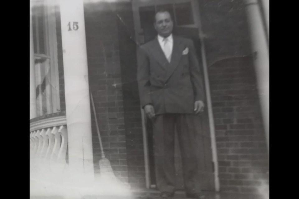 Pasquale De Simone, son-in-law of Antonio and Angela Maria Curcio, standing on the porch of 15 Burton Avenue. Photo courtesy of Simone Gargano
