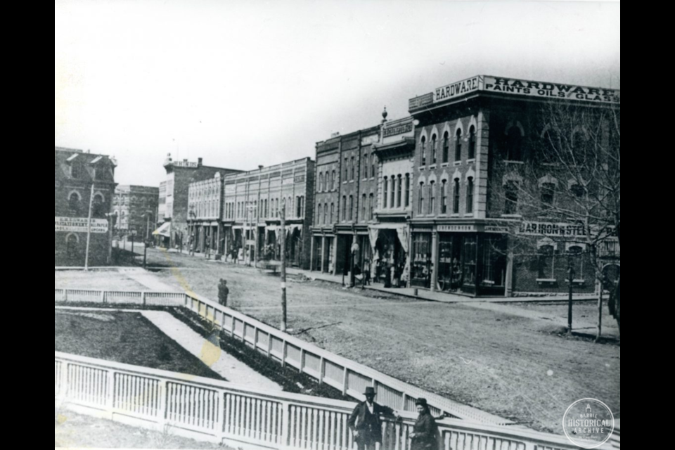 Looking northwest from the railway station property to the corner of Dunlop and Owen Streets. circa 1880. Photo courtesy of the Barrie Historical Archive