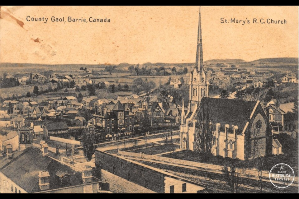 Postcard from 1912 showing St. Mary's Catholic Church. Photo courtesy of the Barrie Historical Archive.