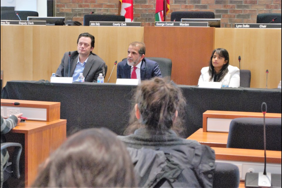 From left to right, Barrie Mayor Jeff Lehman, Collingwood CAO Fareed Amin and President and CEO of Sensor Technology Ltd. in Collingwood Niru Somayajula speak on a leadership panel for the Mohawk College Enterprise Future Ready Leadership training program. Jessica Owen/BarrieToday