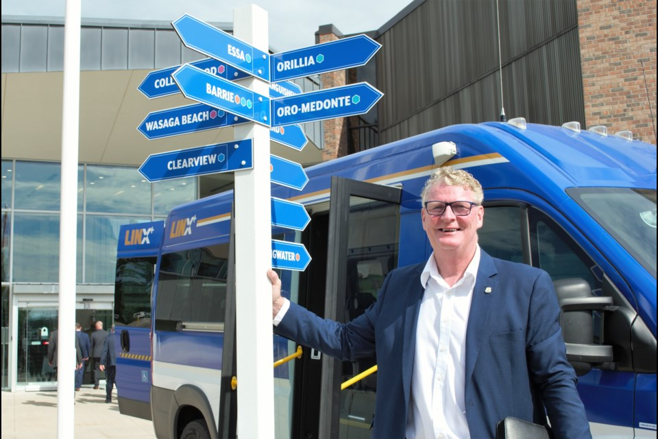 Orillia Mayor Steve Clarke is all smiles at an event celebrating the newest LINX transit routes at the County of Simcoe administration building on Aug. 13, 2019. Jessica Owen/OrilliaMatters