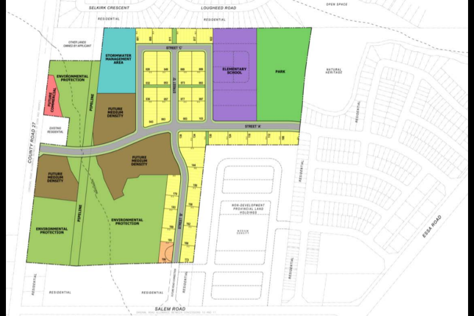 This graphic shows how a proposed development at 8001 County Rd. 27 in Barrie could fit in with the existing neighbourhood. Image supplied