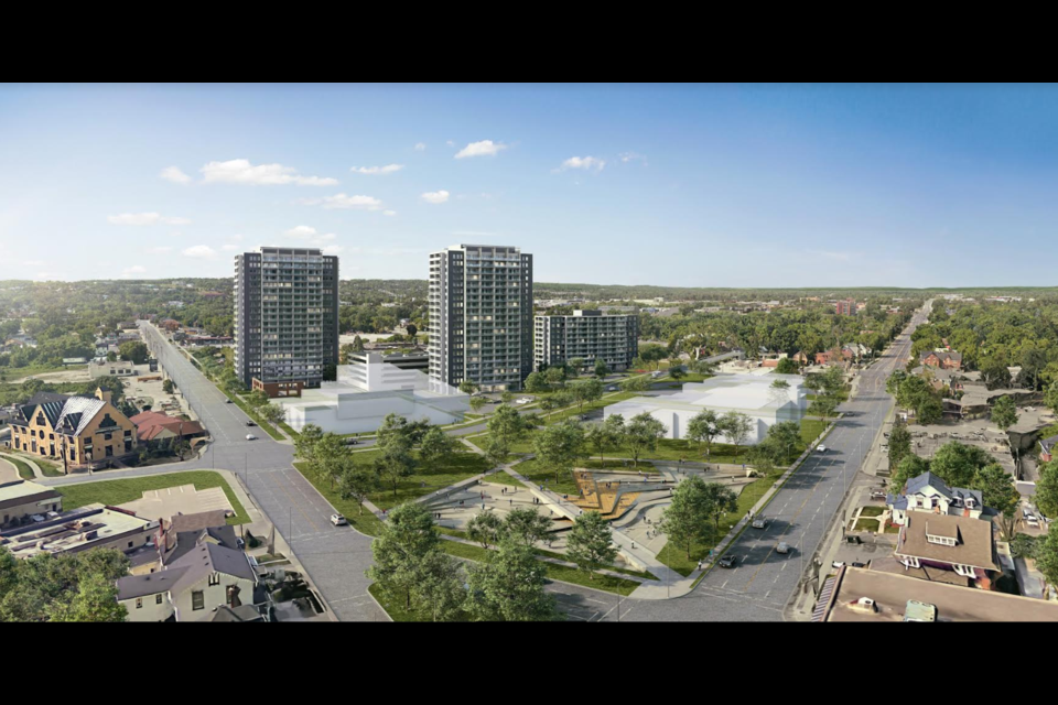 This artist's rendering shows what the mixed-use development could look like once completed at the former Barrie Central site downtown. Image supplied