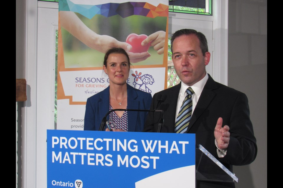 Attorney General Doug Downey, who's the MPP for Barrie-Springwater-Oro-Medonte, and Barrie-Innisfil MPP Andrea Khanjin  announced the elimination of provincial fees on charitable break-open tickets during a news conference on Friday, July 19, 2019 in downtown Barrie. Shawn Gibson/BarrieToday