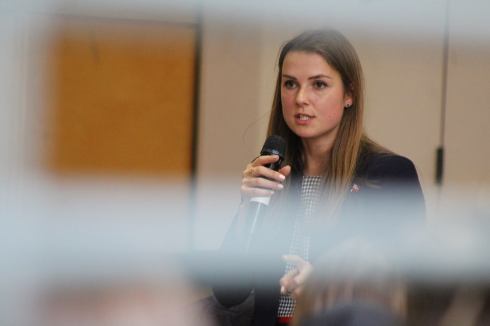 Barrie-Innisfil MPP Andrea Khanjin is shown in this file photo from October 2018 speaking to high school students at Bear Creek Secondary School. Raymond Bowe/BarrieToday