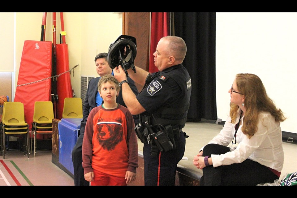 Students at two Barrie elementary schools filed into their auditoriums on Wednesday to learn about bicycle safety and to help mark the beginning of the 2017 Helmets on Kids program.  Submitted