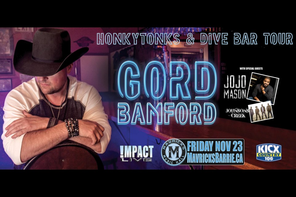 Gord Bamford brings his Honkytonks and Dive Bar Tour to Barrie on Friday November 23. Photo supplied