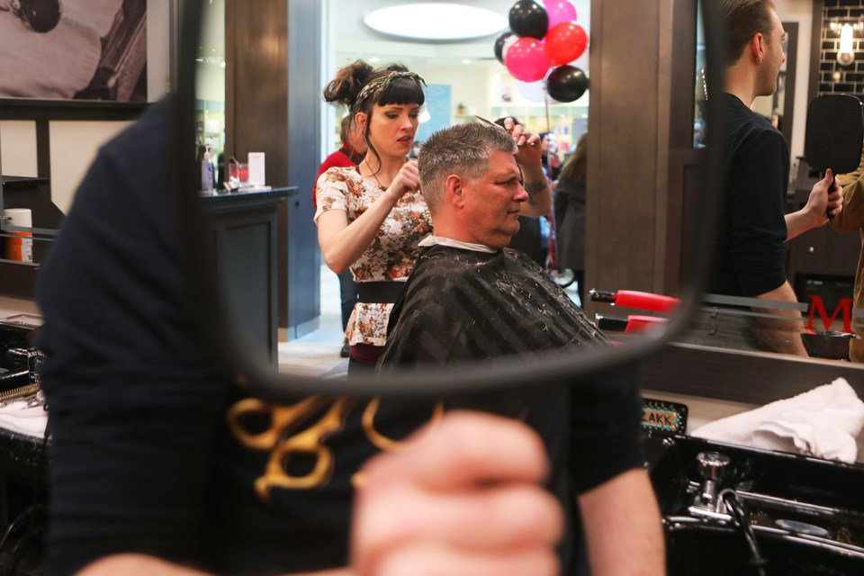 Maverick Studio For Men held its grand opening at the Georgian Mall on Sunday, April 15, 2018. They featured vintage hot towel shaves and haircuts. Kevin Lamb for BarrieToday.
