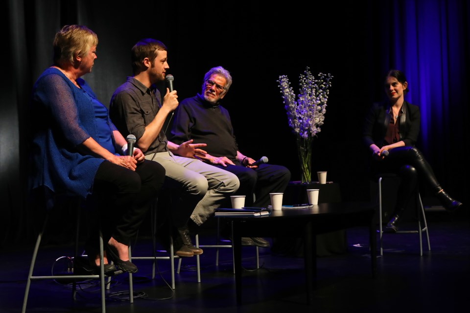 A panel discussion on the state of local media was held at the Five Points Theatre in Barrie on Monday, May 14, 2018. The panel included, from left, Donna Douglas, Nathan Taylor, Dr. Gerald Kaplan and moderator Robyn Doolittle. Kevin Lamb for BarrieToday.