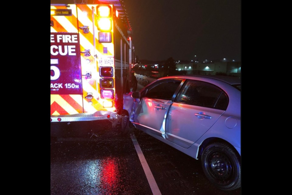 This photo, taken from Barrie Fire Chief Cory Mainprize's Twitter feed, shows a vehicle after it struck a city fire truck on Thursday, Dec. 27, 2018. Photo submitted