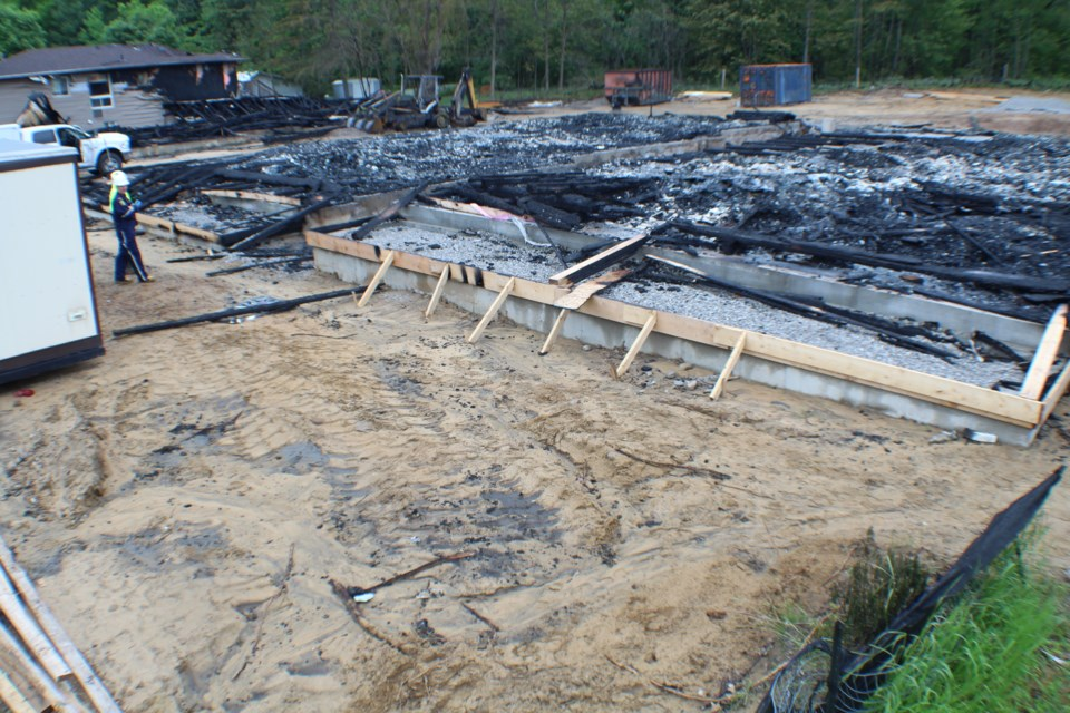 Investigators were on scene at an Edgehill Drive blaze Monday following an overnight fire which destroyed a residential development under construction and also damaged neighbouring homes.  Raymond Bowe/BarrieToday