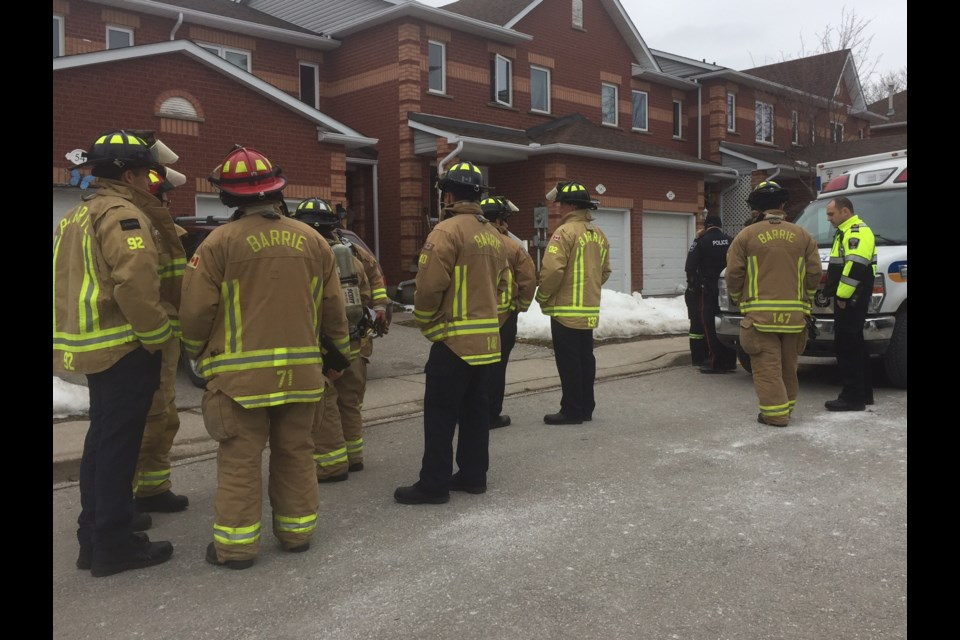 Barrie fire, police and Simcoe County Paramedics await the all clear at a hazmat call on Kozlov Street on Jan. 24, 2017. Sue Sgambati/BarrieToday