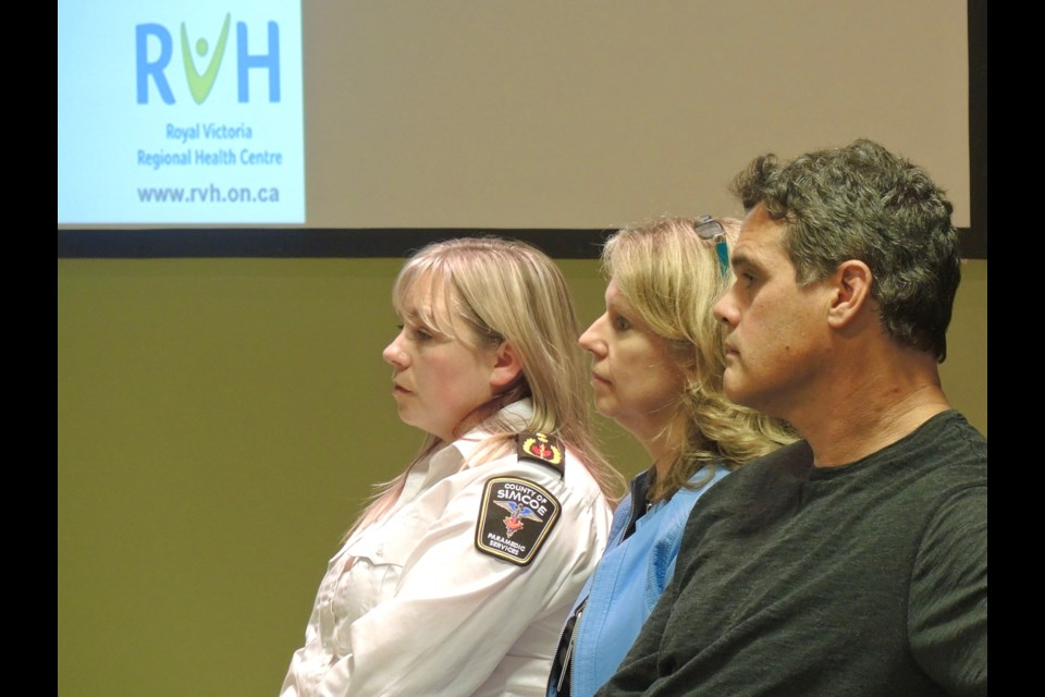 Left to right: Kristen Gilmartin, Clinical Programs Supervisor for the County of Simcoe Health and Emergency Services, Angela McCuaig, Manager, RVH Addiction Services and  Dr. Joey Rampton, Emergency Medicine and Chronic Pain.