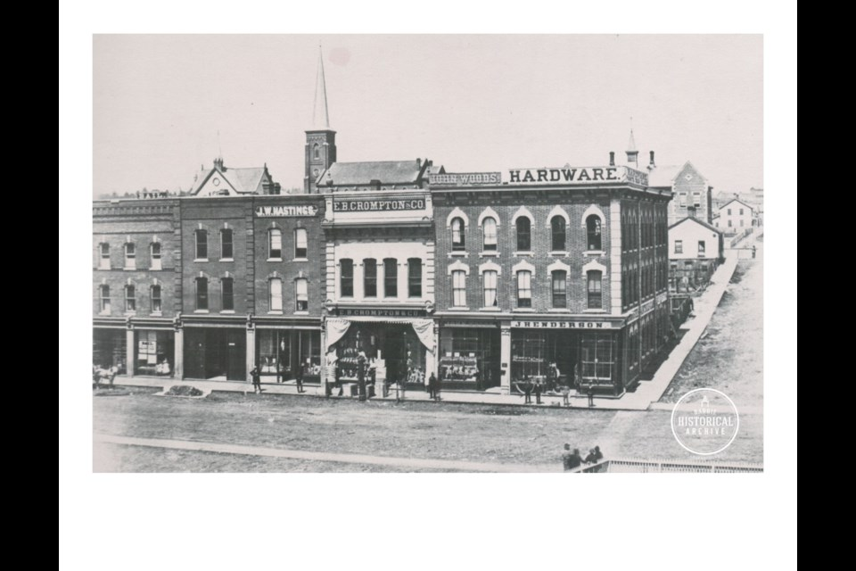 The corner of Owen Street and Dunlop Street East where the elder Mr. Sanford had one of the first shops in Barrie, prior to this brick structure. Photo courtesy the Barrie Historical Archive