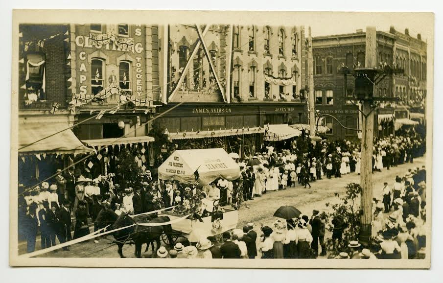 Barrie Examiner float from a parade in 1900. Photo courtesy Simcoe County Archives
