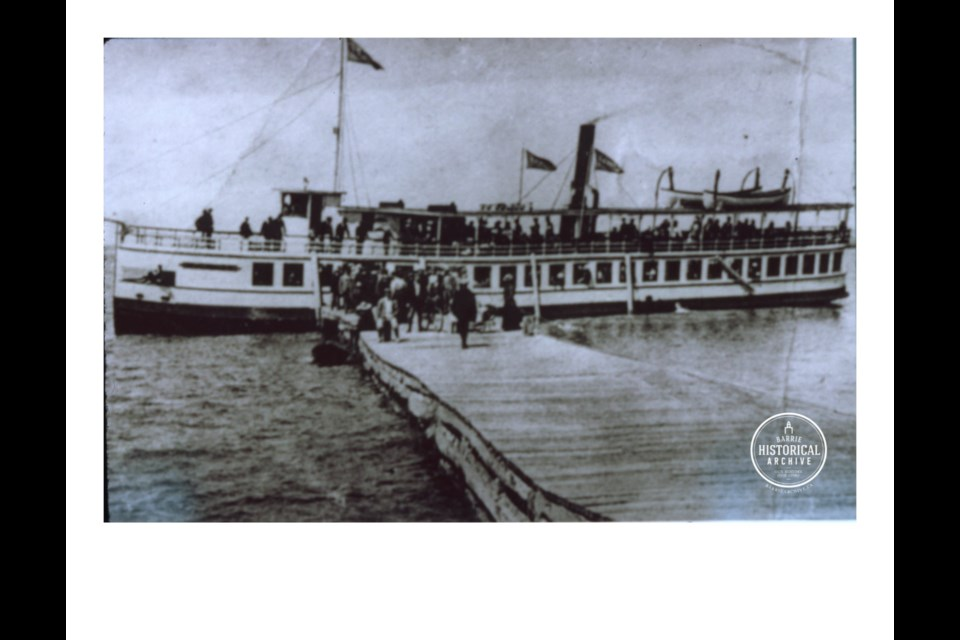 The steamer Orillia, once operated by Captain Johnson, at the Barrie Goverment Dock circa 1884. Photo courtesy of the Barrie Historical Archive
