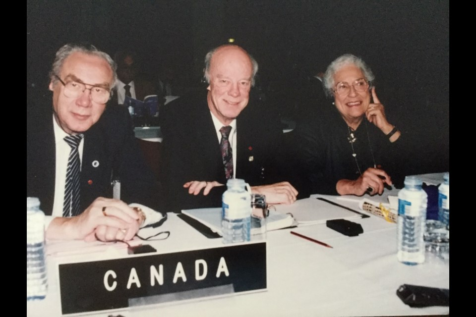 Edna Anderson, right, served as MP of Simcoe Centre from 1988 to 1993. Contributed image