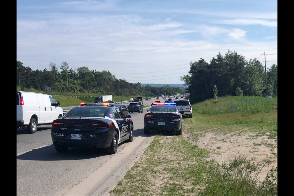 Barrie police are investigating after the body of an adult was found this afternoon (June 24, 2019) in a wooded area near Highway 400 and Bayfield Street. Jenni Dunning/BradfordToday