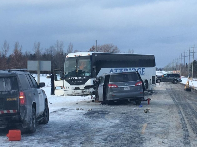 Serious injuries reported after crash between bus and SUV near Stayner
